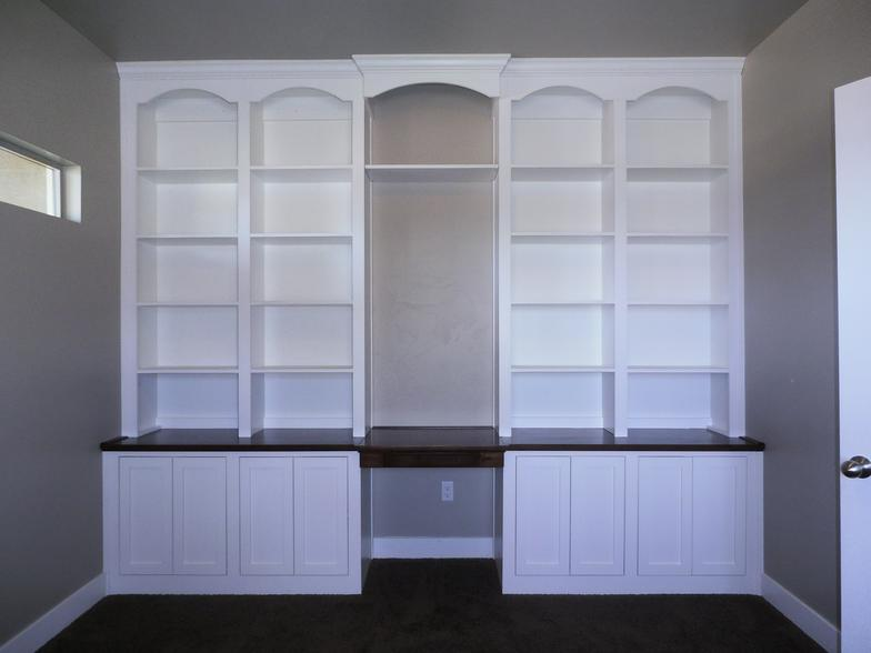 Desk Bookcase Wall Unit With Natural Wood Top And Arches Sample Shown 3100